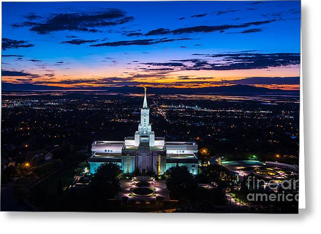 Bountiful Lds Mormon Temple Sunset 2 Greeting Card by Gary Whitton
