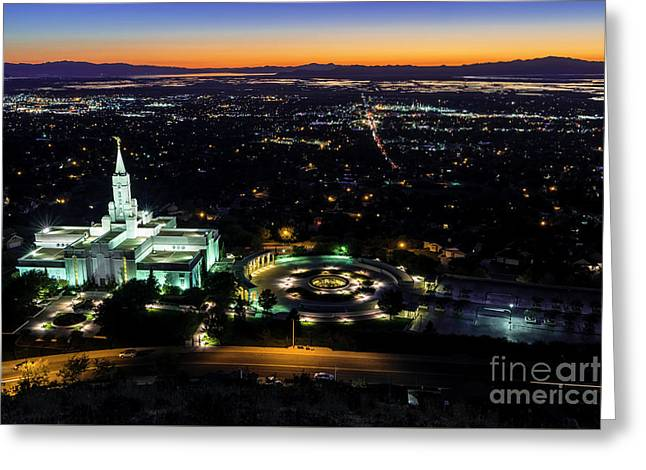 Bountiful Lds Mormon Temple Sunset Greeting Card by Gary Whitton
