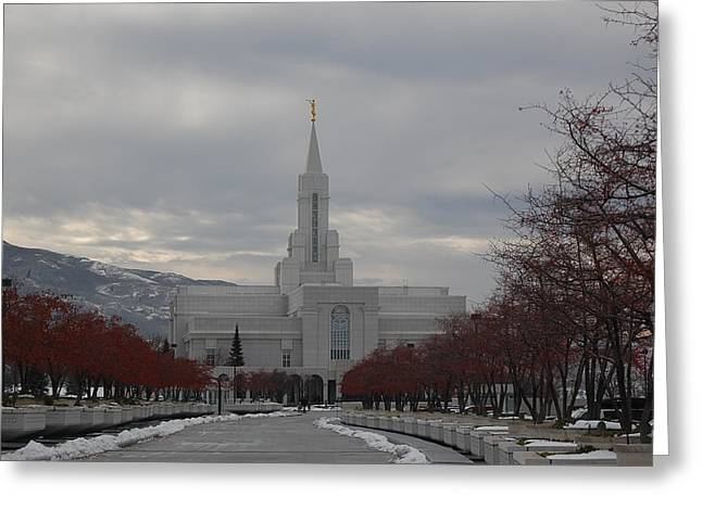 Bountiful Temple Greeting Card by Leslie Thabes