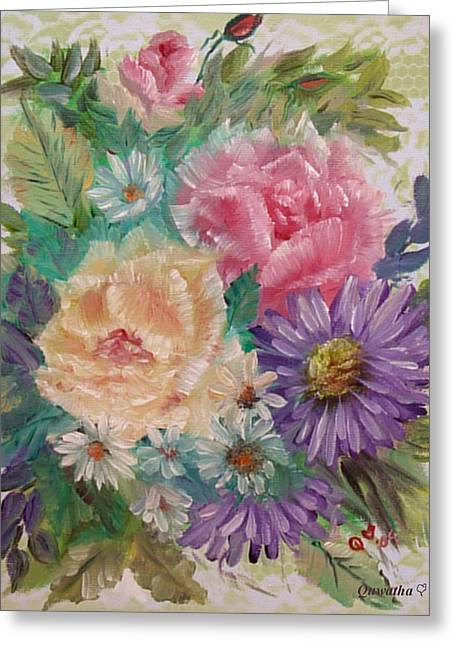 Greeting Card featuring the painting Bouquet 2 by Quwatha Valentine