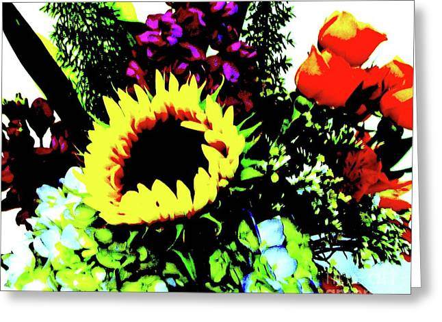 Bouquet Abstract Greeting Card by Marsha Heiken