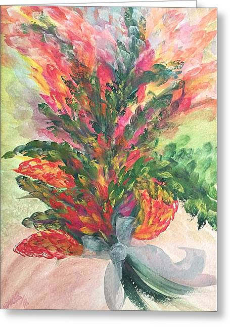 Greeting Card featuring the painting Bouquet And Ribbon by Norma Duch