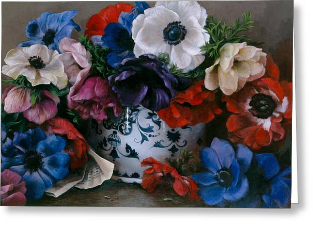 Bouquet D Anemones Greeting Card by Kira Weber