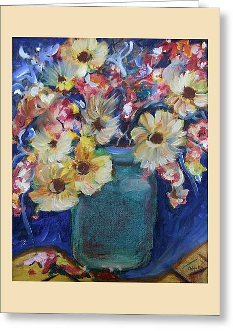 Bouquet Flowers Of Blue  Greeting Card