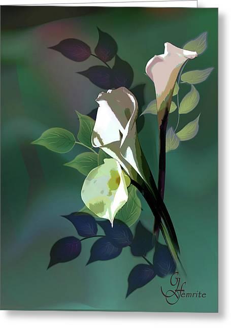 Bouquet In White Greeting Card by Regina Femrite