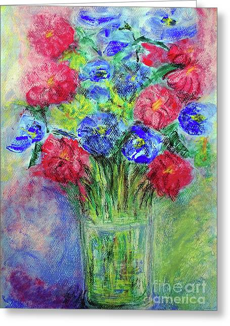 Greeting Card featuring the painting Bouquet by Jasna Dragun