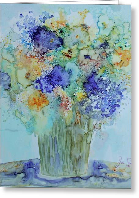Greeting Card featuring the painting Bouquet Of Blue And Gold by Joanne Smoley