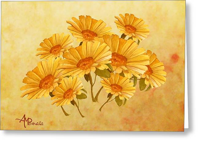Bouquet Of Daisies Greeting Card by Angeles M Pomata