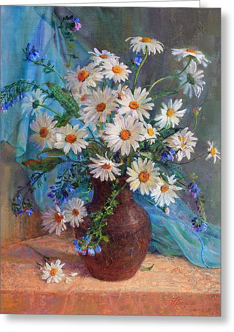 Bouquet Of Daisies In A Vase From Clay Greeting Card