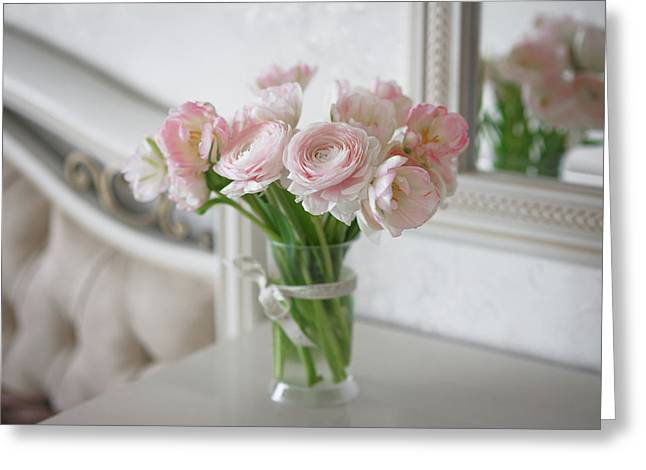 Bouquet Of Delicate Ranunculus And Tulips In Interior Greeting Card