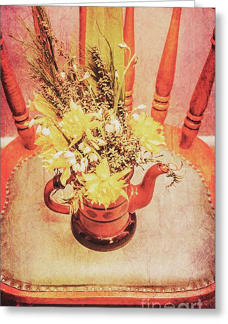 Bouquet Of Dried Flowers In Red Pot Greeting Card