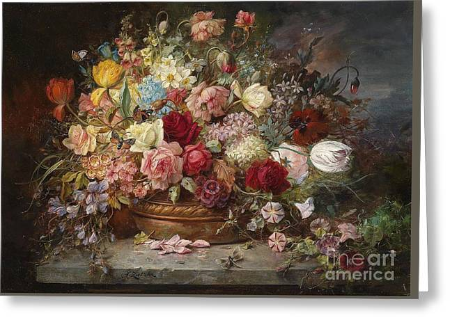 Bouquet Of Flowers In A Copper Bowl With Dragonfly Greeting Card