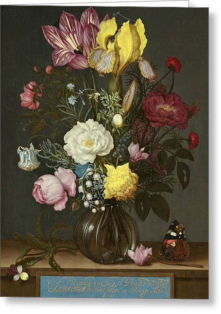 Bouquet Of Flowers In A Glass Vase Greeting Card by Ambrosius Bosschaert