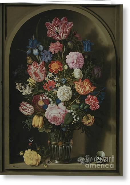 Bouquet Of Flowers In A Stone Niche Greeting Card by Ambrosius the Elder Bosschaert