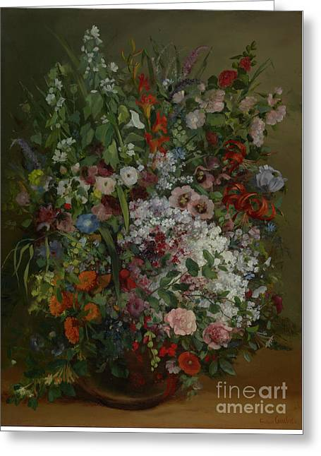 Bouquet Of Flowers In A Vase By Gustave Courbet Greeting Card