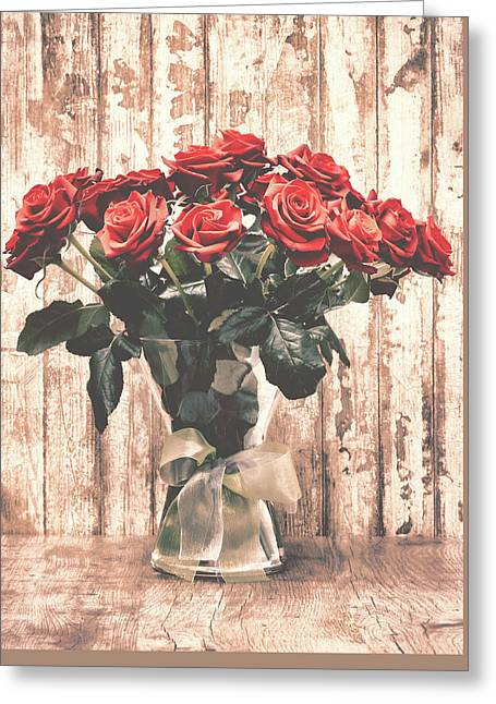 Bouquet Roses Greeting Card by Wim Lanclus