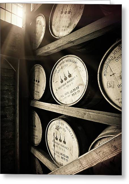 Bourbon Barrels By Window Light Greeting Card by Karen Varnas