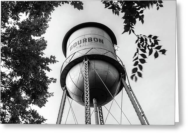 Bourbon Missouri Usa Vintage Water Tower - Black And White Greeting Card