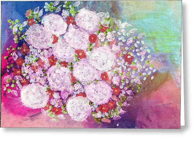Painted Reveries Greeting Cards - Bourbon Rose Boule De Neige Greeting Card by Don  Wright