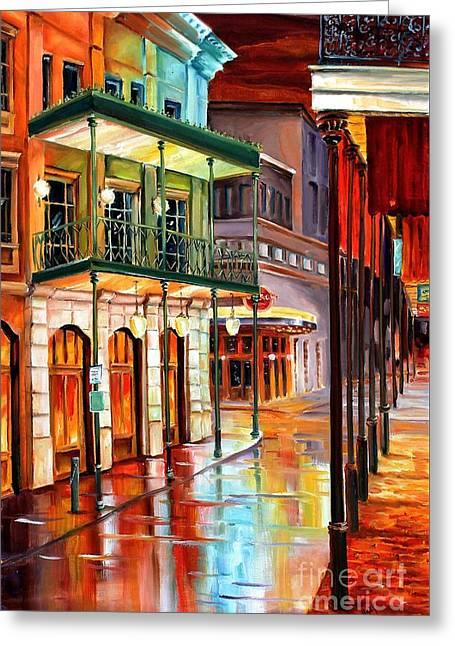 Bourbon Street Glow Greeting Card by Diane Millsap