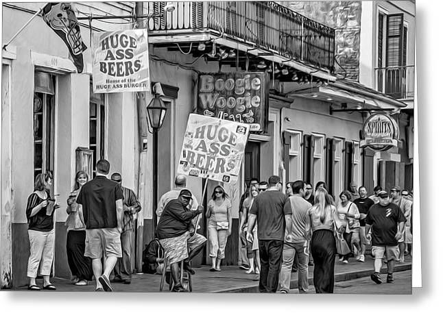 Bourbon Street - Let The Good Times Roll Bw Greeting Card