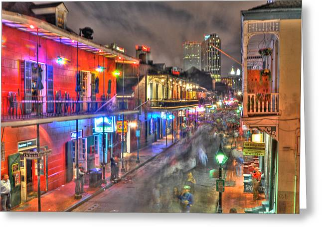 Revelry Greeting Cards - Bourbon Street Revelry Greeting Card by Alex Owen