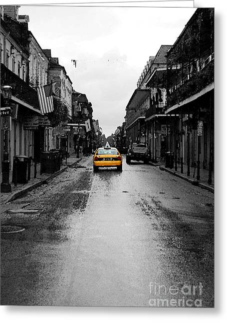 Travelpixpro Greeting Cards - Bourbon Street Taxi French Quarter New Orleans Color Splash Black and White Watercolor Digital Art Greeting Card by Shawn O