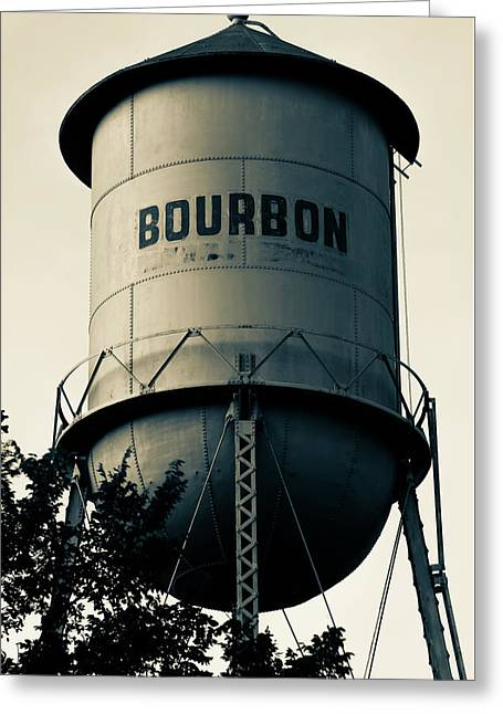 Bourbon Whiskey Vintage Water Tower - Missouri - Sepia Greeting Card