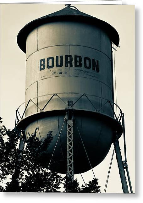 Bourbon Whiskey Vintage Water Tower - Missouri - Sepia Greeting Card