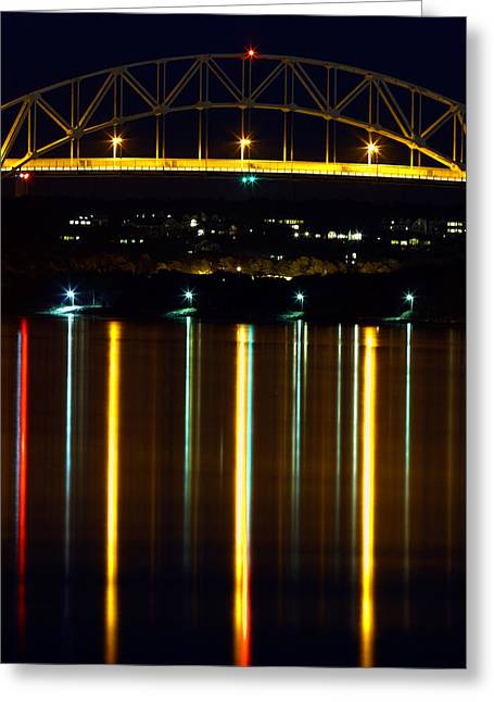 Bourne Bridge At Night Cape Cod Greeting Card by Matt Suess