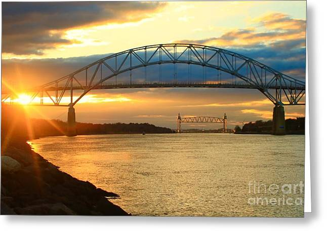 Bourne Bridge Sunset Greeting Card