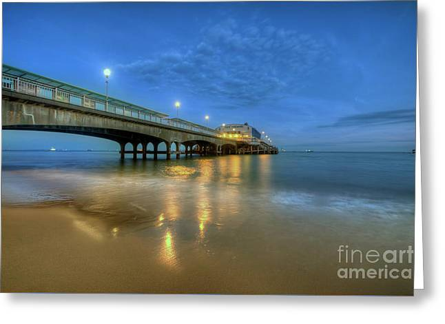 Greeting Card featuring the photograph Bournemouth Pier Blue Hour by Yhun Suarez
