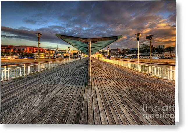 Greeting Card featuring the photograph Bournemouth Pier Sunrise 2.0 by Yhun Suarez