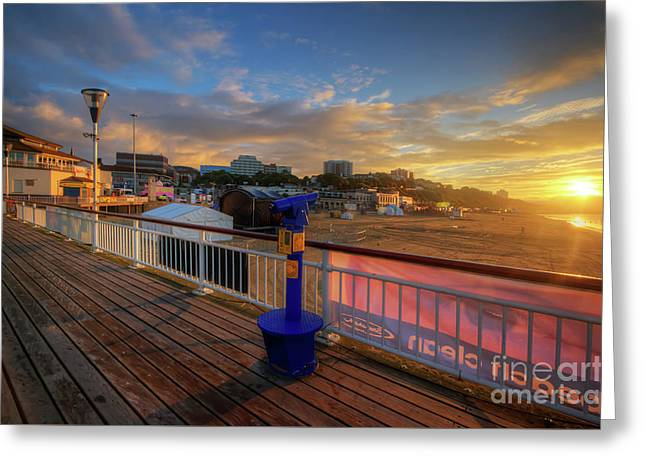 Greeting Card featuring the photograph Bournemouth Pier Sunrise by Yhun Suarez