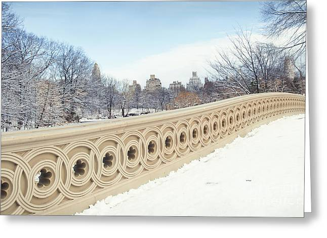 Olia Saunders Greeting Cards - Bow Bridge in Winter the Central Park New York Greeting Card by Design Remix