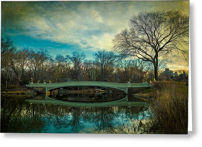 Greeting Card featuring the photograph Bow Bridge Reflection by Chris Lord