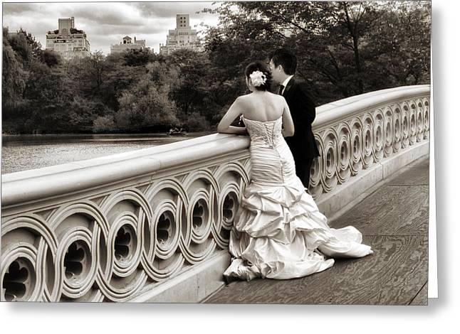 Bow Bridge Wedding Greeting Card by Jessica Jenney