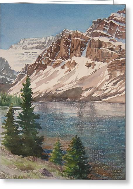 Bow Lake Alberta Greeting Card by Debbie Homewood