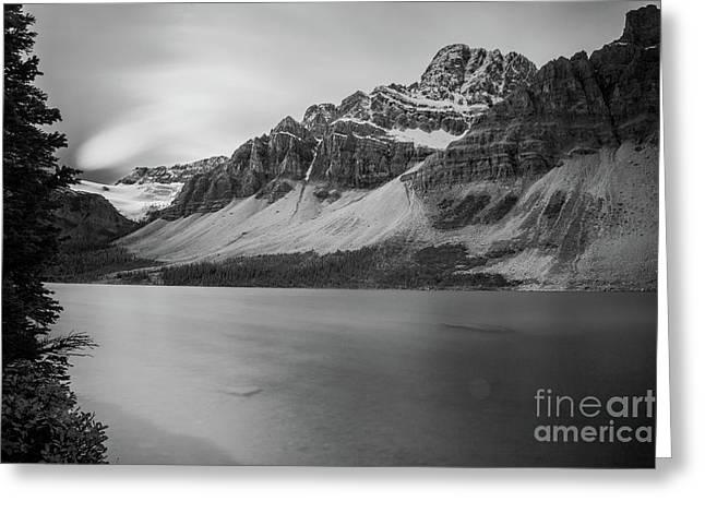 Bow Lake Banff National Park Long Exposure Bw Greeting Card by Wayne Moran