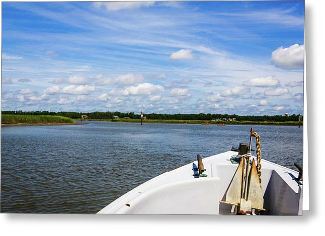 Greeting Card featuring the photograph Bow Of Boat, Broad Creek by Randy Bayne
