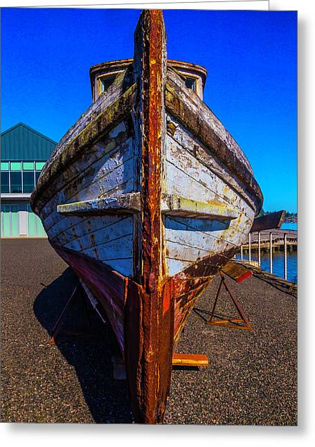Bow Of Old Worn Boat Greeting Card by Garry Gay