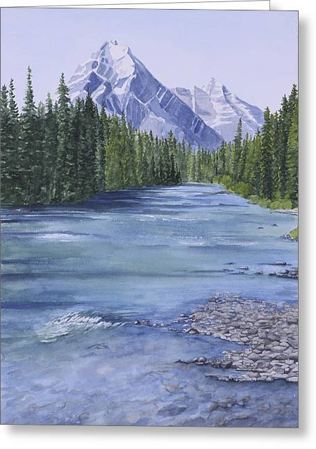 Bow River Greeting Card by Debbie Homewood
