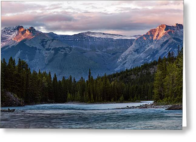 Greeting Card featuring the photograph Bow River Sunset Reflections Panorama by Dave Dilli