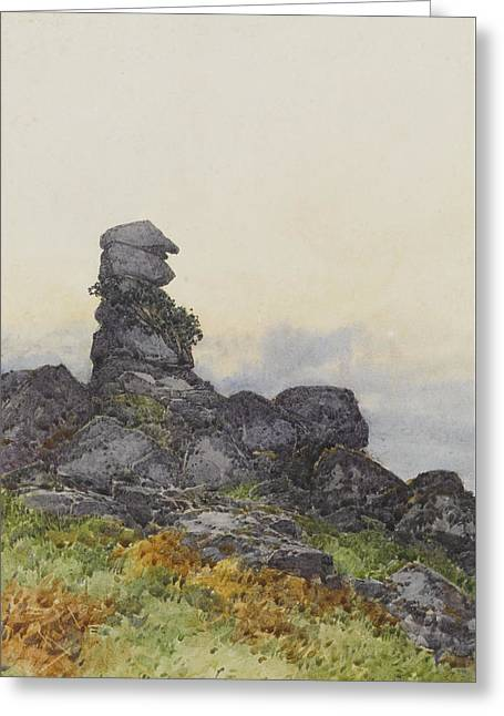 Bowermans Nose, Manaton Dartmoor Greeting Card by Frederick John Widgery