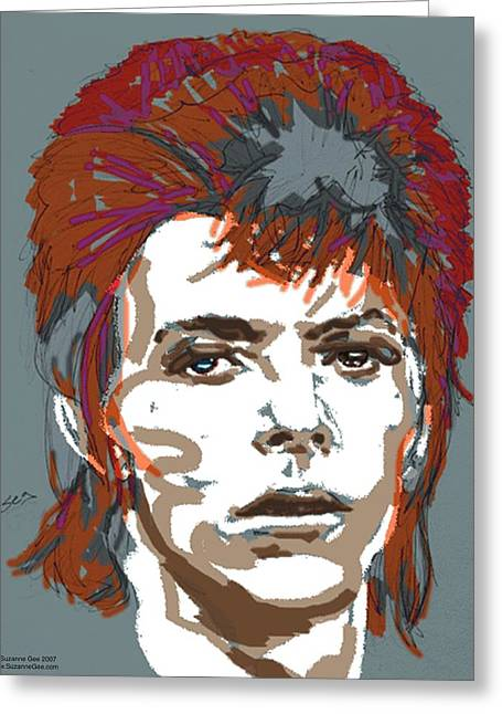 Bowie As Ziggy Greeting Card by Suzanne Gee