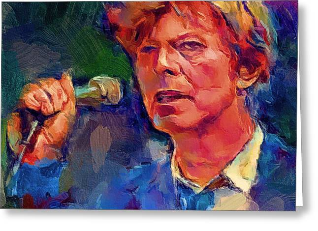 Bowie Singing 2 Greeting Card by Yury Malkov