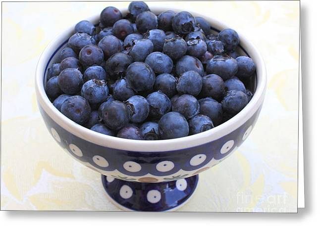 Bowl Of Blueberries Greeting Card by Carol Groenen