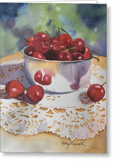 Bowl Of Cherries Greeting Card by Kathy Nesseth
