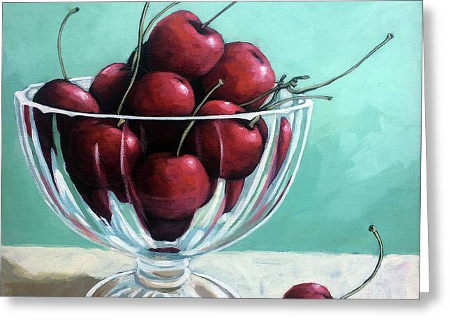 Bowl Of Cherries Greeting Card by Linda Apple