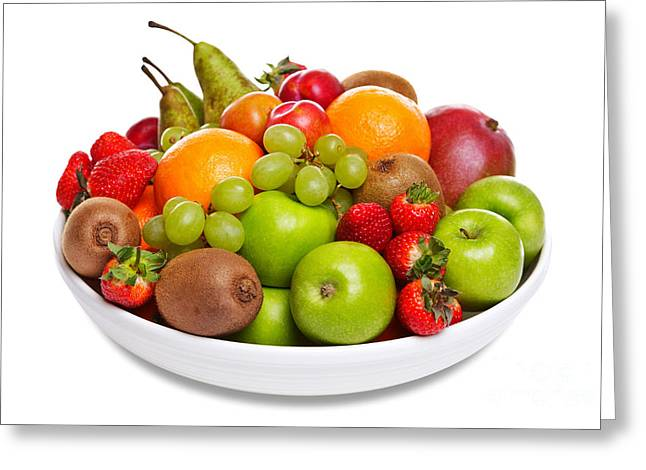 Bowl Of Fresh Fruit Isolated On White Greeting Card